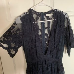 Blue Lace Romper Dress